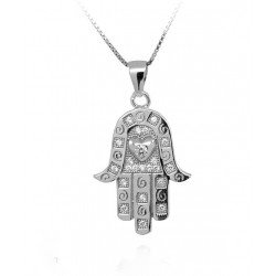 RHODIUM-PLATED SILVER CROSS NECKLACE WHITE GOLD 18 KT with CUBIC ZIRCONIA