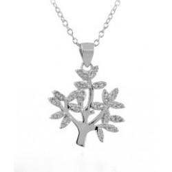 RHODIÉE argent Couronne pendentif collier 18 KT or blanc avec zircon cubique