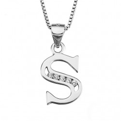 INITIAL LETTER R PENDANT NECKLACE IN RHODIUM-PLATED WHITE GOLD AND CUBIC ZIRCONIA