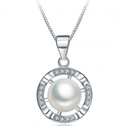 18 KT WHITE GOLD RHODIUM SILVER NECKLACE with Pearl and BRILLIANT CUT CUBIC ZIRCONIA