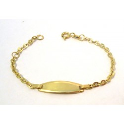 18 KT YELLOW GOLD BRACELET boy/girl with PLATE