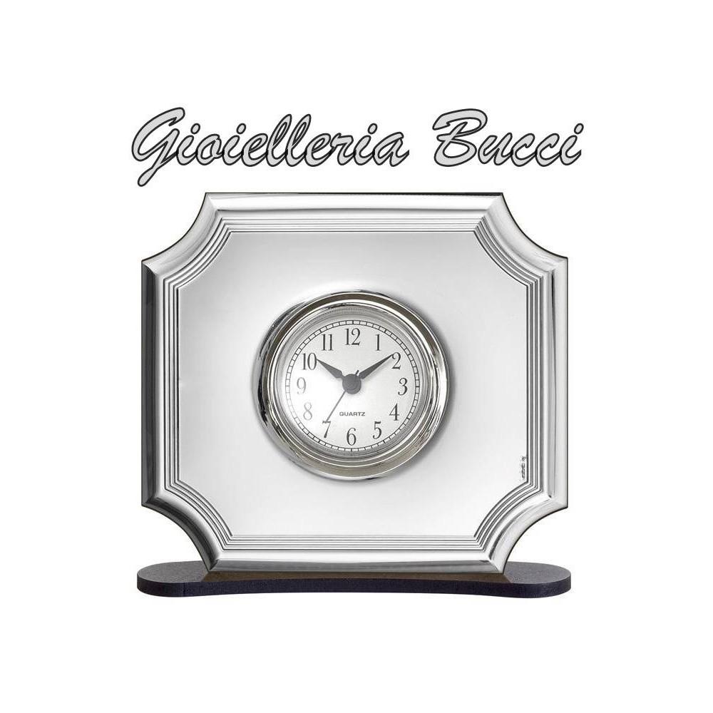 Orologio sveglia da tavolo in argento e legno bel4612 6 - Orologi d epoca da tavolo ...
