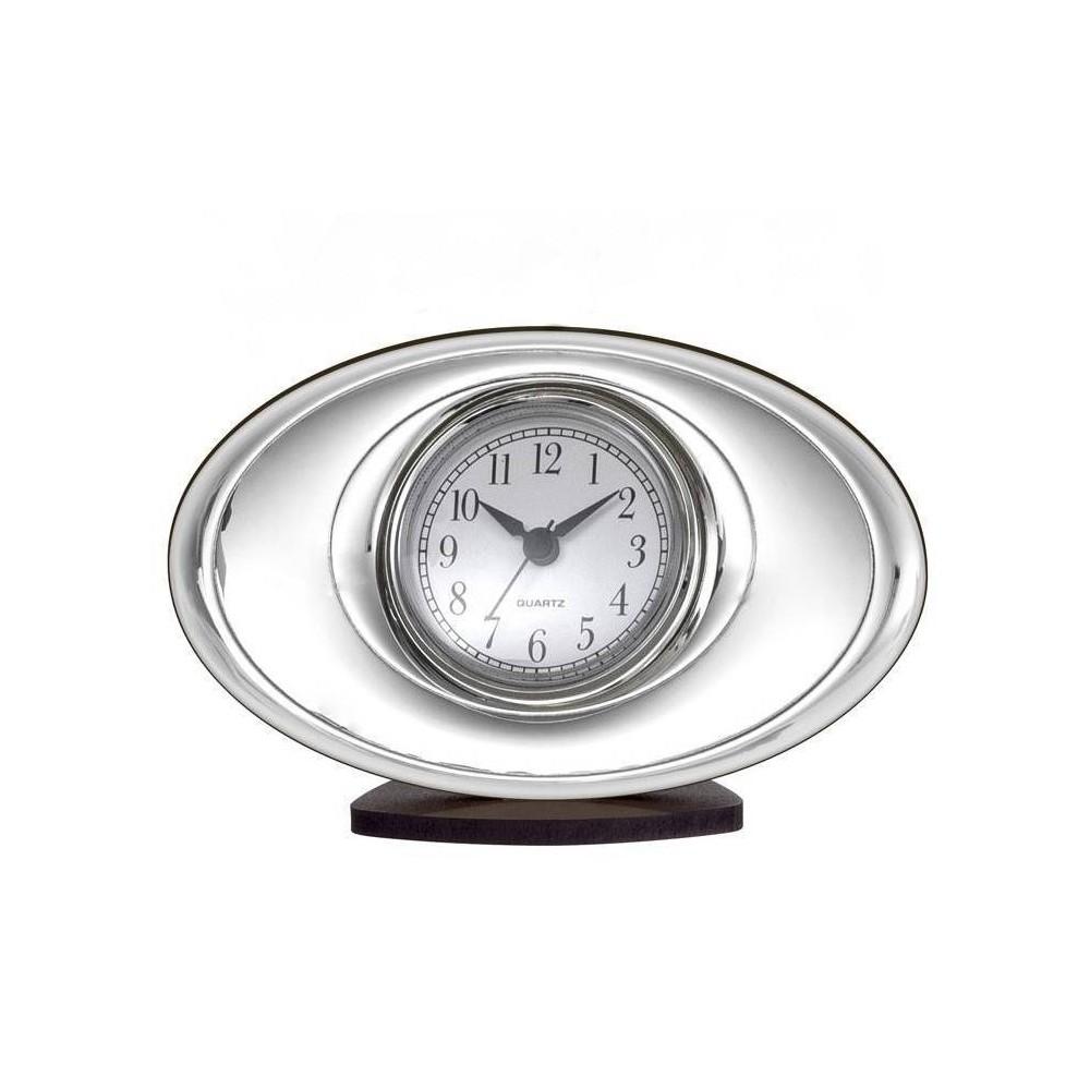 orologio sveglia da tavolo in argento e legno bel4612 9