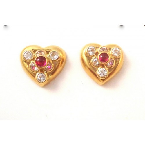 EARRINGS IN 18 KT YELLOW GOLD with WHITE CUBIC ZIRCONIA