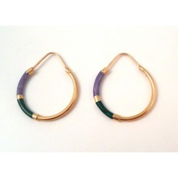 HOOP EARRINGS IN 18 KT YELLOW GOLD ENAMEL and ORANGE PEARLY LIGHT POWDER