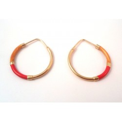 HOOP EARRINGS IN 18 KT YELLOW GOLD blue enamel and PEARLY CREAM