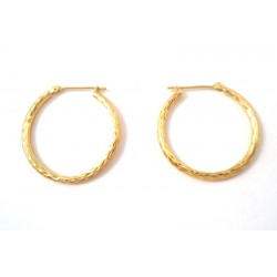 HOOP EARRINGS IN YELLOW GOLD PINK and white 18 KT