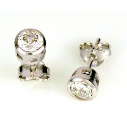 SOLITAIRE EARRINGS IN RHODIUM-PLATED WHITE GOLD