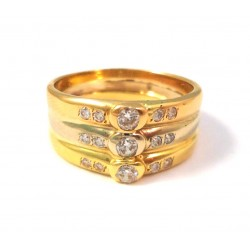 RING BY WOMAN TRILOGY IN YELLOW GOLD WITH WHITE AND PINK 18 KT WITH ZIRCONIA