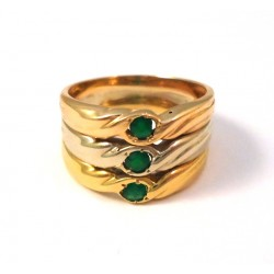 RING TRILOGY IN ORO GIALLO 18 KT PINK and white with EMERALDS
