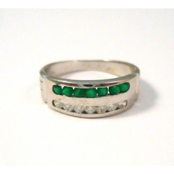 RING IN 18 KT WHITE GOLD with Emerald and CUBIC ZIRCONIA