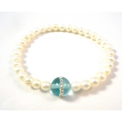 PEARL BRACELET WITH GRAY AND PURPLE CUBIC ZIRCONIA CENTER BALL