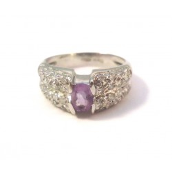 RING IN 18 KT WHITE GOLD amethyst and WHITE CUBIC ZIRCONIA