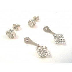 DUO EARRINGS WHITE GOLD 18 KT RHODIUM PLATED SILVER STARS with CUBIC ZIRCONIA
