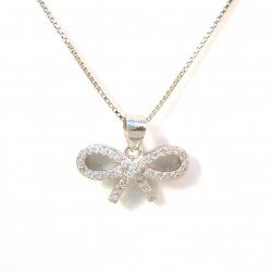 NECKLACE WITH BOW IN RHODIUM-PLATED SILVER WHITE GOLD 18 KT AND CUBIC ZIRCONIA