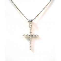SILVER BOW NECKLACE WHITE GOLD 18 KT and Zircons