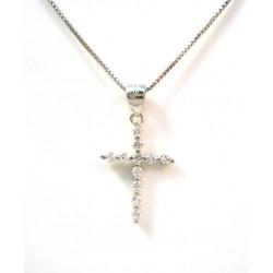 ARCO de plata collar de oro blanco 18 KT y circones