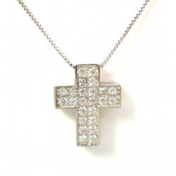 NECKLACE UNISEX WITH SILVER CROSS RHODIUM-PLATED WHITE GOLD 18 KT AND CUBIC ZIRCONIA