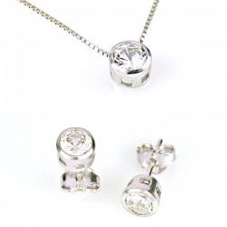 COMPLETE A NECKLACE AND EARRINGS POINT LIGHT IN SILVER RHODIUM-PLATED WHITE GOLD 18 KT