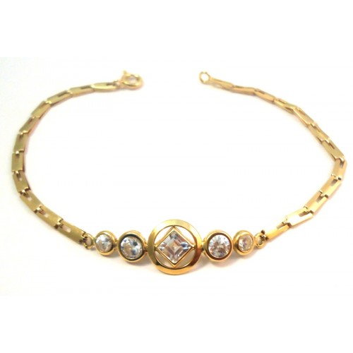 18 KT YELLOW GOLD BRACELET with BRILLIANT CUT CUBIC ZIRCONIA