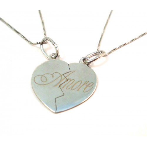 DOUBLE HEART NECKLACE WHITE GOLD 18 KT RHODIUM PLATED SILVER with ZIRCONS