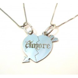 Rodio plata corazón collar de oro blanco 18 KT DIVISIBLE con 2 collares