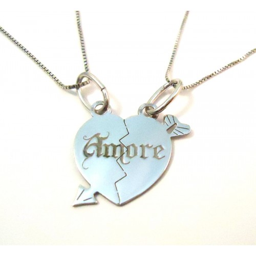 RHODIUM-PLATED SILVER HEART NECKLACE WHITE GOLD 18 KT DIVISIBLE with 2 NECKLACES