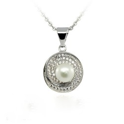 NECKLACE WHITE GOLD 18 KT RHODIUM PLATED SILVER STUD with ZIRCON