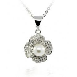 Collier en argent RHODIÉ avec or blanc 18 KT LEAN avec zircon cubique et perle