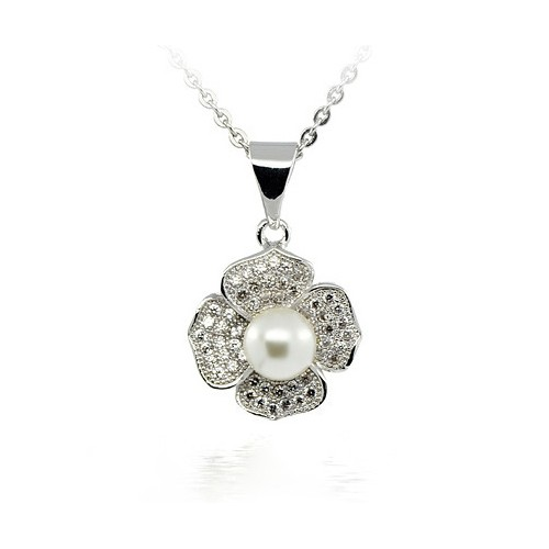 NECKLACE WITH A PENDANT FOUR-LEAF CLOVER IN SILVER RHODIUM-PLATED WHITE GOLD 18 KT WITH ZIRCONIA AND PEARL
