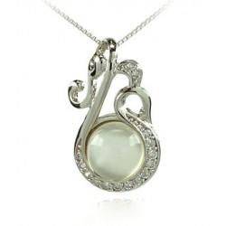 TRÉBOL de cuatro hojas encanto collar de oro blanco 18 KT Rodio plata Circonita y perla