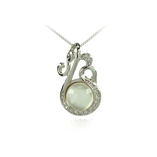 3c9f682d9aba TRÉBOL de cuatro hojas encanto collar de oro blanco 18 KT Rodio plata  Circonita y perla