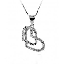 NECKLACE with PENDANT WHITE GOLD 18 KT RHODIUM PLATED SILVER HEART with CUBIC ZIRCONIA