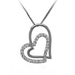 NECKLACE WITH A DOUBLE HEART IN RHODIUM-PLATED SILVER WHITE GOLD 18 KT WITH ZIRCONIA