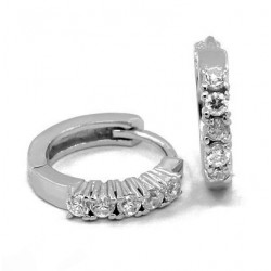HOOP EARRINGS IN RHODIUM-PLATED WHITE GOLD BRILLIANT CUT CUBIC ZIRCONIA 18 KT