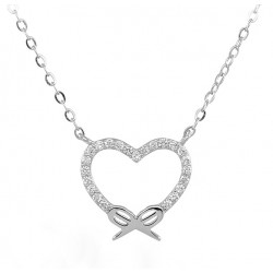 Rodio plata perlas collar 18 KT rosa oro y Circonita corte brillante