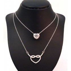 18 KT WHITE GOLD RHODIUM SILVER HEART NECKLACE with CUBIC ZIRCONIA ROUND BRILLIANT CUT