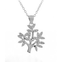 RHODIUM-PLATED SILVER CROWN PENDANT NECKLACE 18 KT WHITE GOLD with CUBIC ZIRCONIA