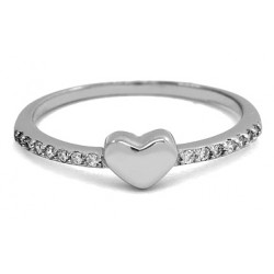 LADY'S RING IN 18 KT WHITE GOLD RHODIUM SILVER with BRILLIANT CUT CUBIC ZIRCONIA