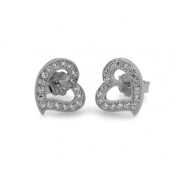 RHODIUM-PLATED SILVER EARRINGS 18 KT WHITE GOLD with CUBIC ZIRCONIA