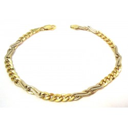 BRACELET CHAIN MEN'S YELLOW AND WHITE GOLD 18 KT