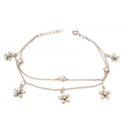 RHODIUM-PLATED SILVER BRACELET WOMEN'S WHITE GOLD WEDDING BUTTERFLIES AND ZIRCONS