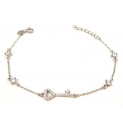 UNOAERRE SILVER BRACELET WHITE GOLD WOMEN'S STARS AND ZIRCONS