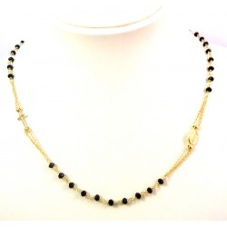 NECKLACE WHITE GOLD RHODIUM PLATED 925 SILVER ROSARY UNOAERRE BLACK AGATE