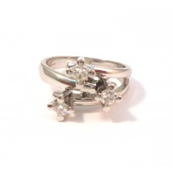 LADIES 18 KT WHITE GOLD TRILOGY RING with CUBIC ZIRCONIA