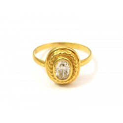 18 KT YELLOW GOLD LADIES RING with CUBIC ZIRCONIA