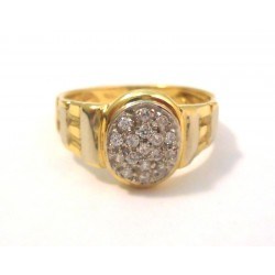 TRILOGY RING IN 18 KT yellow and white gold with CUBIC ZIRCONIA