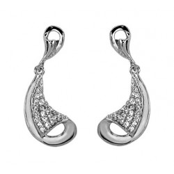 18 KT WHITE GOLD RHODIUM PLATED SILVER PENDANT EARRINGS with ROUND BRILLIANT CUT CUBIC ZIRCONIA