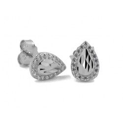 RHODIUM-PLATED SILVER WHITE GOLD SOLITAIRE EARRINGS with CUBIC ZIRCONIA 6 MM BROWN