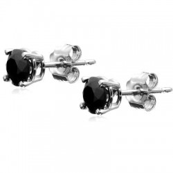 RHODIUM-PLATED SILVER EARRINGS CUBIC ZIRCONIA SOLITAIRE WHITE GOLD 3 MM